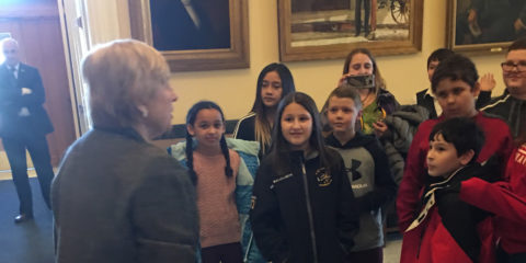 WES 5th graders meet Governor Mills