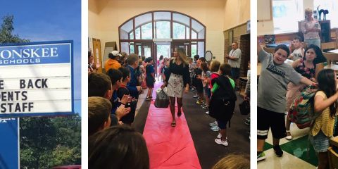 Students receive a red carpet welcome at WES.